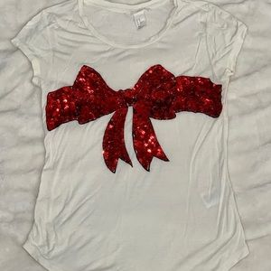 H&M Red Sequin Bow Christmas Shirt